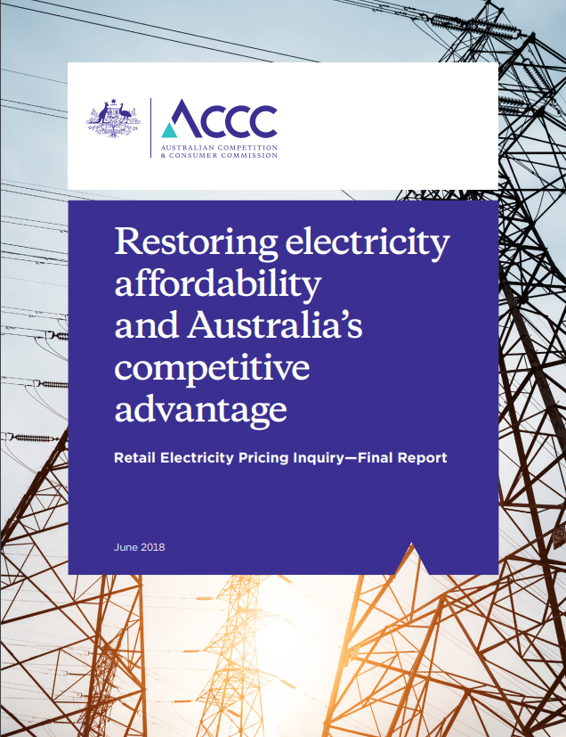 ACCC reduce energy prices - Retail Electricity Pricing Inquiry Final Report