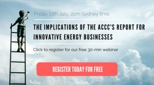 ACCC Report for innovative energy businesses - the webinar Eventbrite advert