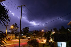 Lightning flashing across the sky in suburban Brisbane Australia