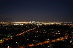Melbourne city from a drone at night.